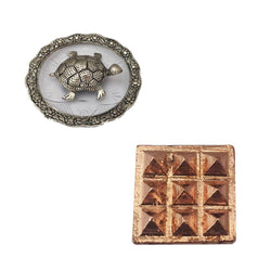 "Divya Mantra Combo Of Feng Shui Metal 4"" Tortoise/Turtle with Glass Water 5.5"" Diameter Plate & Set of 2 - 9 Vastu Dosh Nivaran Wish Pyramids on Pure Copper Plate Yantra Wall/Door Sticker-Multicolor - Divya Mantra"