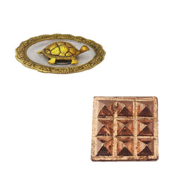 "Divya Mantra Combo Of Feng Shui Metal 4"" Tortoise/Turtle with Glass Water 5.5"" Diameter Plate & Set of 2 - 9 Vastu Dosh Nivaran Wish Pyramids on Pure Copper Plate Yantra Wall/Door Sticker-Multicolour - Divya Mantra"