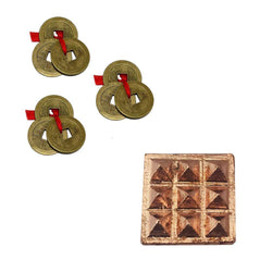 "Divya Mantra Set Of 3: Three Lucky Chinese 1"" Coins with Red Ribbon for Good Luck, Wealth & 9 Wish Pyramids on Pure Copper Plate Yantra Wall/Door Sticker Vastu Dosh / Badha Nivaran, Money -Multicolour - Divya Mantra"