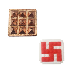 Divya Mantra Combo Of Hindu Symbol Swastika 25 Pyramids Yantra And 9 Wish Pyramids on Pure Copper Plate Yantra Wall/Door Sticker - Vastu Dosh Nivaran, Good Luck , Vaastu Shastra Remedy - Multicolour - Divya Mantra