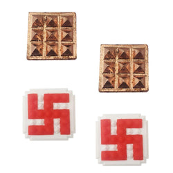 Divya Mantra Combo Of 2 Hindu Symbol Swastika 25 Pyramids Yantra And Set Of 2 : 9 Wish Pyramids on Pure Copper Plate Yantra Wall/Door Sticker - Vastu Dosh Nivaran, Money, Vaastu Shastra - Multicolour - Divya Mantra