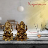 Divya Mantra Hindu God Sri Ganesha & Goddess Laxmi Idol Set Sculpture Statue Murti Puja Room, Meditation, Prayer, Office, Temple, Home Table Decor Gift Item/Product-Money, Good Luck, Prosperity-Yellow