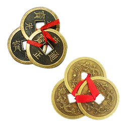 Divya Mantra Feng Shui Chinese Lucky Fortune I-Ching Dragon Coin Ornaments Wealth Charm Amulet 3 Bronze Metal Coins with Hole & Red Ribbon Knot-Good Money Luck, Decoration Charms Set of 2–Gold, Copper - Divya Mantra