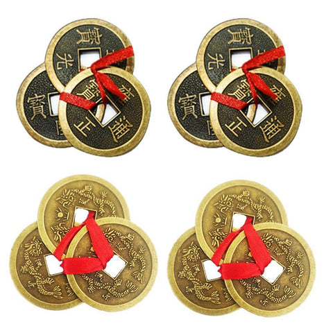 Divya Mantra Feng Shui Chinese Lucky Fortune I-Ching Dragon Coin Ornaments Wealth Charm Amulet 3 Bronze Metal Coins with Hole & Red Ribbon Knot-Good Money Luck, Decoration Charms Set of 4–Gold, Copper - Divya Mantra