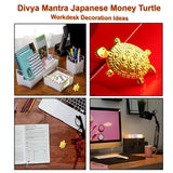 Divya Mantra Chinese Lucky Charm Turtle Pair Home Decor Statue & Feng Shui Pure Copper 1.5 Inch Tortoise with 2.25 Inch Diameter Water Plate; Vastu Living, Wealth, Health, Good Luck Set - Copper, Gold - Divya Mantra
