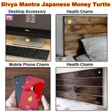 Divya Mantra Japanese Lucky Charm Money Turtle Pair Home Decor & Chinese Feng Shui Metal 2.5 Inch Tortoise with 4 Inch Diameter Water Plate; Vastu Living, Wealth, Health, Good Luck Set - Gold, Multi - Divya Mantra