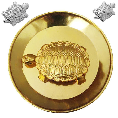 Divya Mantra Japanese Lucky Charm Money Turtle Pair Home Decor Statue & Chinese Feng Shui Metal 2 Inch Tortoise with 3.5 Inch Water Plate; Vastu Living, Wealth, Health, Good Luck Set - Gold, Silver - Divya Mantra