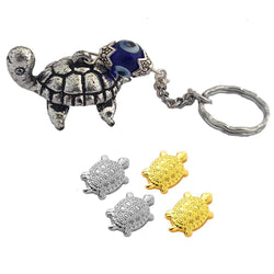 Divya Mantra Japanese Lucky Charm Turtle 2 Pairs Home Decor Statue, Chinese Feng Shui Tortoise  Evil Eye Amulet Key Chain Good Luck, Wealth, Health, Money, Collectible Ornament - Gold, Blue, Silver - Divya Mantra