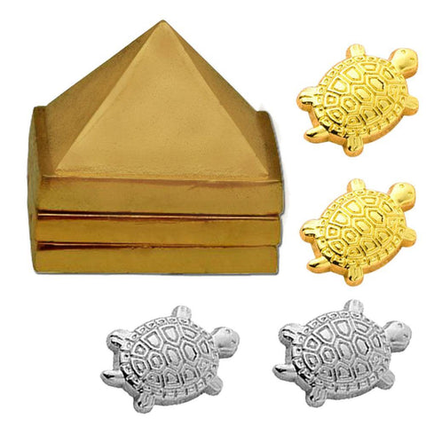 "Divya Mantra Japanese Lucky Charm Feng Shui Money Turtle Pairs Home Decor Collectible Ornament Wealth Amulet & Vastu Wish Multilayered 1"" Zinc Pyramid Good Luck, Wealth, Health, Money – Gold, Silver - Divya Mantra"