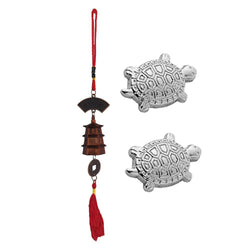Divya Mantra Japanese Lucky Charm Money Turtle Pair & Feng Shui Bell Tibetan Car Rear View Mirror Decor Accessories Home Window Decoration Wind Chime Bronze Dragon Coin, Pagoda Hanging - Brown, Silver - Divya Mantra