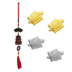 Divya Mantra Japanese Lucky Charm Money Turtle 2 Pairs & Feng Shui Bell Tibetan Car Rear View Mirror Decor Accessories Home Window Decoration Wind Chime Dragon Coin Hanging - Brown, Gold, Silver - Divya Mantra