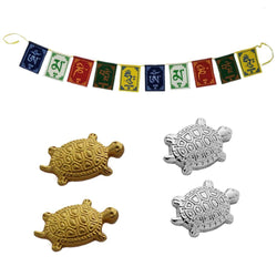 Divya Mantra Japanese Lucky Charm Money Feng Shui Turtles Home Decor 2 Pairs & Tibetan Buddhist Himalayan Nepali Positive Vibes 3 Feet Prayer Flags For Motorbike / Car Hanging Accessories - Multicolor - Divya Mantra
