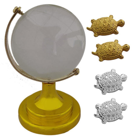 Divya Mantra Japanese Lucky Charm Money Turtle 2 Pairs Home Decor & Feng Shui Crystal Rotating 4 cm Globe Educational Earth Texture Map for Students, Kids, Home, Office, Table Decoration- Gold, Silver - Divya Mantra