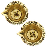 Divya Mantra Home Decor Diya Lamp Indian Pure Brass Hindu Auspicious Symbol Laxmi Swastika Oval Decorative Oil Light Diwali Decoration Pooja Room Mandir Pital Diva Handmade Good Luck Set of 2 - Gold - Divya Mantra