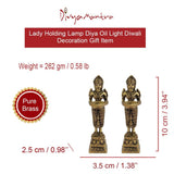 Divya Mantra Home Decor Laxmi Diya Lamp Indian Pure Brass Lady Wealth Statue Decorative Oil Light Hindu Diwali Festival Decoration Pooja Room Mandir Pital Diva Handmade Good Luck Set of 2 - Golden - Divya Mantra