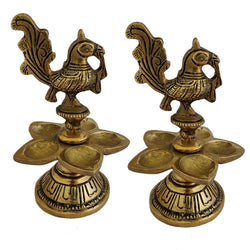 Divya Mantra Home Decor Diya Lamp Indian Brass Samai Hindu Goddess Sri Laxmi Mayura Peacock Design Decorative Oil Light Diwali Decoration Pooja Room Mandir Pital Diva Handmade Good Luck Set of 2 -Gold - Divya Mantra