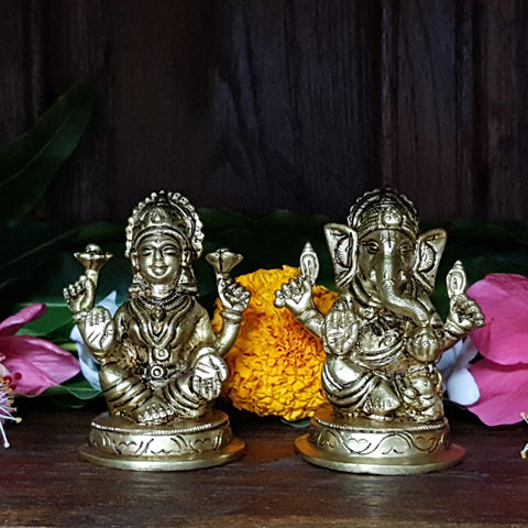 Laxmi Ganesh Idol For Home Temple Decor Mandir Room Decoration Accessories Indian Sri Hindu Lord Diwali Pooja Murti Puja Articles God Brass Statue Interior Decorative Showpiece Good Luck Money - Gold