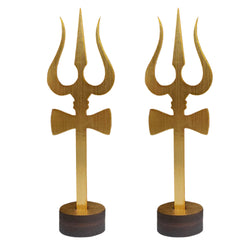 Sri Shiva Trishul (Trident) Damru with Wooden Stand Yantra Indian Mandir Home Decor Hindu Temple Pooja Items Vastu Decorative Car Dashboard Showpiece Diwali Puja Symbol Good Luck - Set of 2, Golden