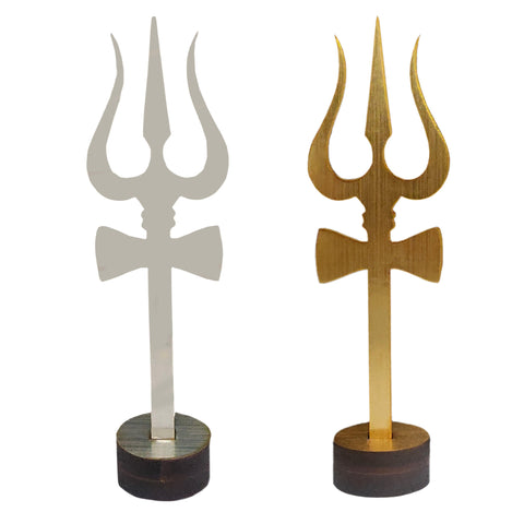 Sri Shiva Trishul (Trident) Damru Wooden Stand Yantra Indian Mandir Home Decor Hindu Temple Pooja Items Vastu Decorative Car Dashboard Showpiece Diwali Puja Symbol Good Luck - Set of 2, Silver & Gold