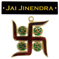 Divya Mantra Vastu Om Swastik Meenakari Work Jai Jinendra Jain Home Wall Decor English Sticker Entrance Door Symbol Pooja Items Decorative Showpiece Interior Good Luck Decoration - Multi - Set of 2 - Divya Mantra