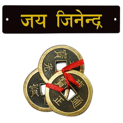 Divya Mantra Feng Shui Chinese Lucky Fortune Dragon Coin Jai Jinendra Jain Home Wall Decor Hindi Sticker Entrance Door Symbol Pooja Items Decorative Showpiece Interior Decoration - Multi - Set of 2 - Divya Mantra