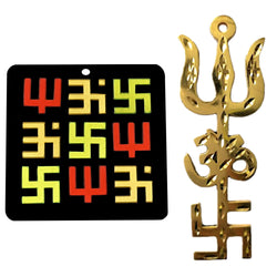 Divya Mantra Trishakti Yantra for Car Home Wall Decor Temple Pooja Items Decorative Showpiece Vastu Yoga Symbol Shiva Trishul, Om, Lucky Swastik Pure Brass and Acrylic - Gold, Multicolor - Set of 2
