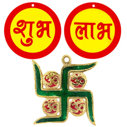 Divya Mantra Aum Meenakari Hanging Auspicious Shubh Labh Hindu Home Wall Decor Sticker Entrance Door Symbol Pooja Items Decorative Showpiece Mandir Decoration Accessories - Multi - Set of 2