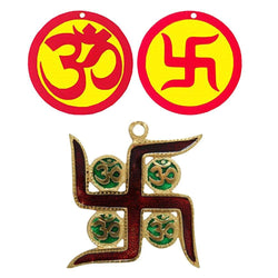 Divya Mantra Sri Aum Swastik Meenakari Metallic Wall Decor Om Indian Mandir Home Hindu Temple Pooja Items Vastu Decorative Car Hanging Diwali Puja Double Sided Symbol - Multi - Set of 2