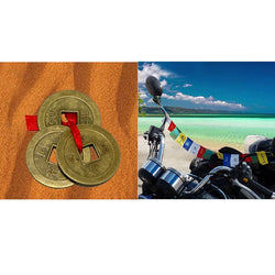 Divya Mantra Tibetan Buddhist Prayer Flag for Motorbike & 1 Set of 3 Chinese Feng Shui Lucky Coins Combo Pack - Divya Mantra