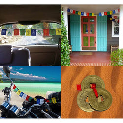 Divya Mantra Combo Of Prayer Flag For Home, Car and Motobike with Three Feng Shui Chinese Coins - Divya Mantra