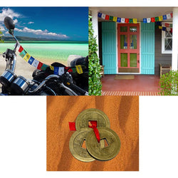 Divya Mantra Tibetan Buddhist Prayer Flags Set Motorbike, Home & 3 Chinese Feng Shui Lucky Coins Combo - Divya Mantra