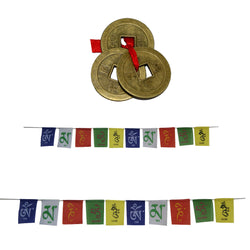 Divya Mantra Combo Of Tibetian Buddhist Prayer Flags For Car and Motorbike With Three Chinese Coins - Divya Mantra