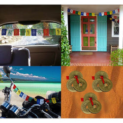 Divya Mantra Tibetian Buddhist Prayer Flags For Home, Car, Motorbike and Three Good Luck Chinese Coins Combo - Divya Mantra