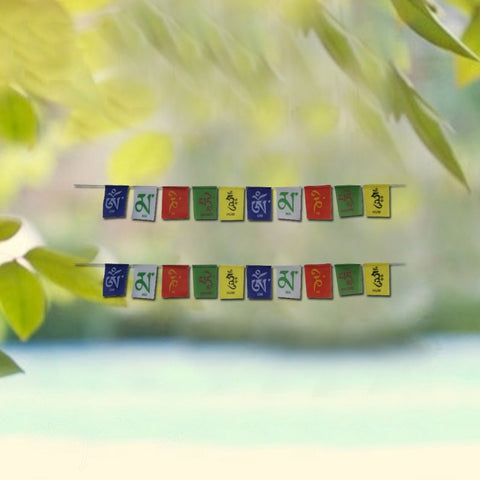 Divya Mantra Tibetan Buddhist Prayer Flags Set of 2 for