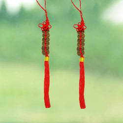 Divya Mantra Car Decoration Rear View Mirror Hanging Accessories Combo of Feng Shui 6 Coins With Red Strings - Divya Mantra
