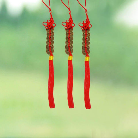 Divya Mantra Combo of Feng Shui 6 Coins Hanging With Red Strings For Good Fortune - Divya Mantra