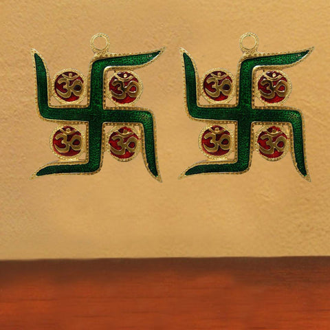 Divya Mantra Combo Of Two Swastik Symbol Wall Hanging for Good Luck and Fortune - Divya Mantra
