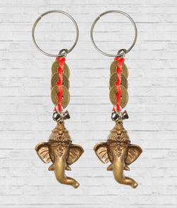 Divya Mantra Combo of Two Ganesha Key Chains with Feng Shui Coins - Divya Mantra