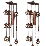 Divya Mantra Combo of Two Feng Shui Om 5 Pipes Wind Chimes - Divya Mantra