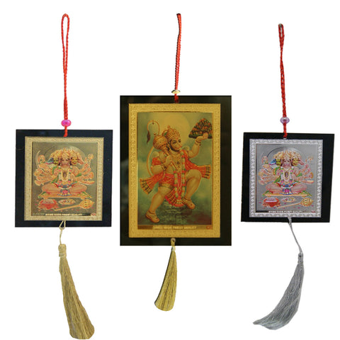 Divya Mantra Set of Two Panchamukhi and Hanuman Lifting Parvat Car / Wall Hanging - Divya Mantra