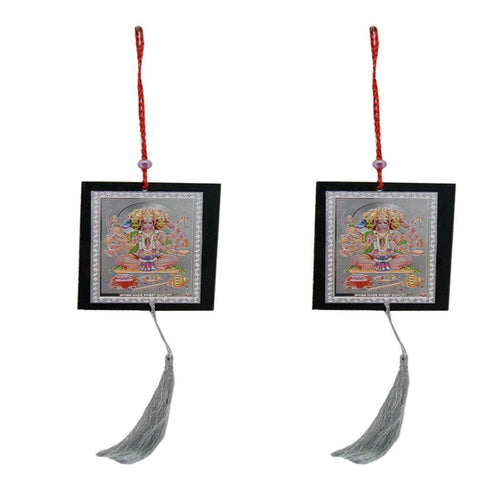 Divya Mantra Car Decoration Rear View Mirror Hanging Accessories Set of Two Panchmukhi Hanuman - Divya Mantra