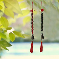 Divya Mantra Set of Two Feng Shui 12 Coins Bell Hanging With Red Strings For Good Fortune - Divya Mantra