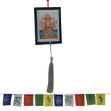 Divya Mantra Combo Of Panchmukhi Hanuman Car / Wall Hanging And Tibetian Buddhist Prayer Flag For Car - Divya Mantra