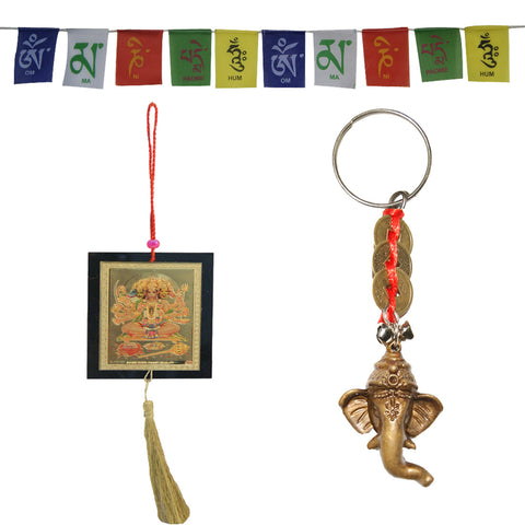 Divya Mantra Spiritual Car Accessories Combo Of Car Hanging, Prayer Flags And Keychain - Divya Mantra