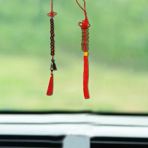 Divya Mantra Combo of Feng Shui 6 Coins Hanging and 12 Coins Bell Hanging For Weath And Fortune - Divya Mantra