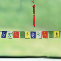 Divya Mantra Combo of Feng Shui 6 Coins Hanging With Tibetan Prayer Flags For Car - Divya Mantra