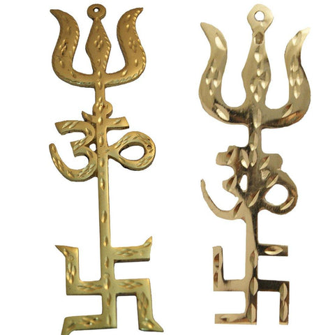 Divya Mantra Combo Of Big and Small Swastik Om Trishul Trishakti Yantra Hanging For Vastu - Divya Mantra