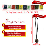Divya Mantra Combo Of Om Mani Padme Hung Mantra Pendant Necklace and Tibetan Prayer Flag For Car - Divya Mantra