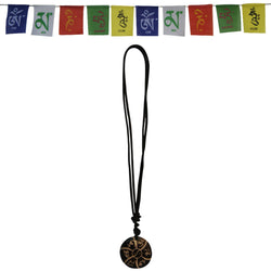 Divya Mantra Combo Of Om Mani Padme Hung Mantra Pendant Necklace and Tibetan Prayer Flag For Bike - Divya Mantra