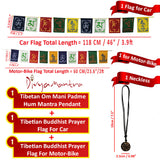 Divya Mantra Combo Of Om Mani Padme Hung Mantra Pendant Necklace and Tibetan Prayer Flags For Bike and Car - Divya Mantra